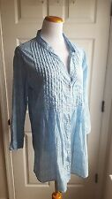 Rock Flower Paper Size XL Blue White Tunic Button Down Shirt