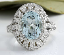 Estate 5.85 Carats NATURAL AQUAMARINE and DIAMOND 14K Solid White Gold Ring