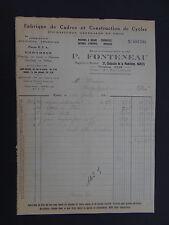 Facture FONTENEAU 1934 Cadre de CYCLE Vélo Nantes old bill Rechnung fattura