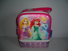 DISNEY PRINCESS 2 COMPARTMENT GIRLS INSULATED LUNCH BAG BOX TOTE NWT!