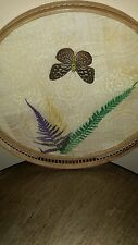 Vintage Serving Tray Piece Bamboo Pressed Butterfly Beverage Serving Tray
