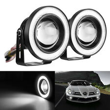 "3"" Motorcycle Car LED Angel Eyes Headlight Turn Signal Fog Light Lamp Mount SEAU"
