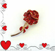 VALENTINES DAY RHINESTONE LONG STEM RED ROSE GOLD FLOWER BROOCH PIN GIFT FOR HER