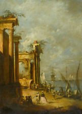 Roman Ruins Near the Lagoon Francesco Guardi Ruine Rom Italien Schiff B A3 01799