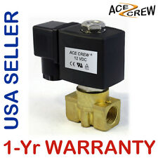 3/8 inch 12V DC VDC Brass Solenoid Valve NPT Gas Water Air ONE-YEAR WARRANTY