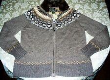 NWT ~ EDDIE BAUER CARDIGAN ~ Lambswool Angora Cashmere & Faux Fur ~ Size XL