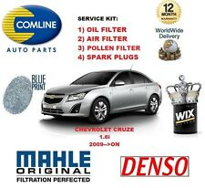 FOR CHEVROLET CRUZE 1.6 2009- ON OIL AIR POLLEN FILTER + SPARK PLUGS SERVICE KIT