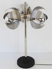 SUPERBE LAMPE AUX 3 FLEURS ACIER BROSSE 1970 VINTAGE SPACE AGE 70S DESK LAMP