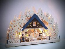 LED Candle arches 3D with 2 figures Artwork house 43 x 30 cm Erzgebirge 10607