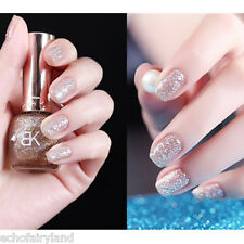 1 Flacon 10ml Nail Art Vernis à Ongles avec Paillettes Brillantes en Beige #09