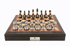 "Dal Rossi 16"" Chess Set Walnut Finish Chess Set with PU Leather Edge with compar"