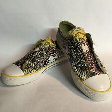 Ed Hardy Eagle Low Rise Sneakers Khaki Sz 6 EUC Cute!