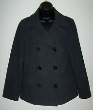 ABERCROMBIE WOMENS SIZE S WOOL BLEND PEA COAT WINTER JACKET CHARCOAL GRAY SMALL