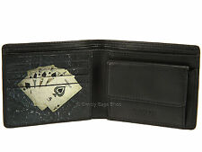 Visconti Poker Applique Mens Leather Wallet For Cards, Banknotes & Coins - Black
