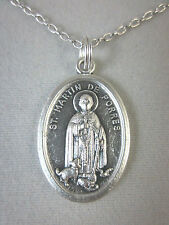 "St Martin de Porres w/ Dog and Cat Medal Italy Pendant Necklace 20"" Chain"