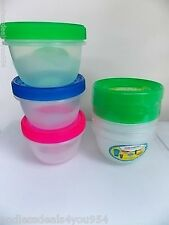 3 PORTION CONTROL FOOD CONTAINERS-6 PCs- SCREW ON LID-470ml/16 fl oz-GREEN