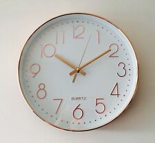 Rose Gold High Shine Wall Clock Kitchen Clock 30cm Contemporary Styling