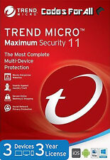 Trend Micro Maximum Security 11 2017 3 Years 3 Devices (Licence Key Only)