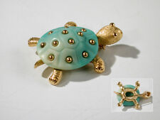 Vintage 1960's Crown Trifari Faux Turquoise Lucite Turtle Brooch Goldtone