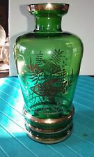 Vintage green glass vase with gold fish design and gold trim