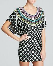 NWT TRINA TURK Women's Sz L, KON TIKI Tunic Swimsuit Cover-up BLACK/Multi $148