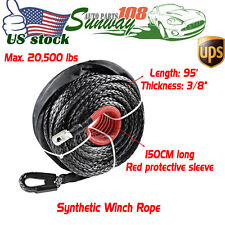 "95ft x 3/8"" BLACK Winch Rope Line Cable Rocky Mountain + RED Protective Sleeve"