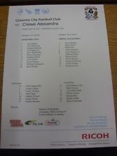 23/02/2013 Colour Teamsheet:  Coventry City v Crewe Alexandra  . Unless previous