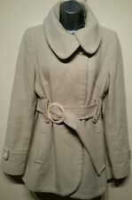 Ladies Size 16 Jane Norman Coat Fitted Wool Blend Cream Belt Lined