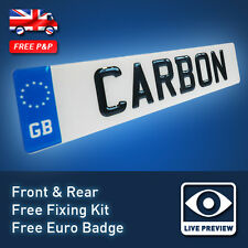 3D UK FONT Carbon Fibre Effect Resin Domed Gel Raised Car Number Plates 24