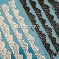 Classical 3D Black White Lace Flower Nail Art Sticker Phone DIY Decals Salon 12#