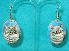 RUSSIAN HAND PAINTED Natural SHELL UNIQUE Earrings Kitten Grey Cat signed Izotov