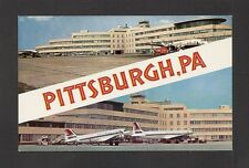 POSTCARD:  GREATER PITTSBURGH AIRPORT - TERMINAL & AIRLINERS - 2 VIEWS - Unused