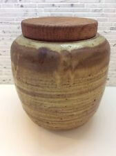 Vintage Studio Pottery Wood Lid Canister Mid Century Crock Signed Danish Modern