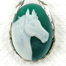 Horse Green Agate Stone Cameo Pendant .925 Sterling Silver Animal Jewelry