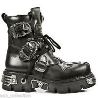 NewRock New Rock 407 Silver Cross Black Gothic Biker Boot Genuine Leather Boots