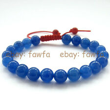 New 8mm Blue Gemstone Tibet Buddhist Prayer Beads Mala Bracelet