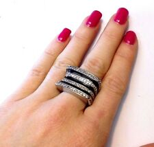 Fabulous! New Large Sterling Silver Black Enamel Pave CZ Striped Cocktail Ring