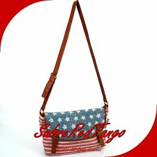 NWT BLACK POPPY AMERICAN FLAG BURLAP MESSENGER CROSSBODY SHOULDER BAG