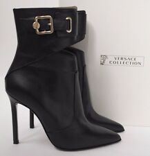 VERSACE UK5 EU38 US8 BLACK LEATHER MEDUSA BUCKLE STILETTO HEEL ANKLE BOOTS