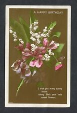 Birthday Card - Flowers. Addressed Gravesend, Kent with Postal Union Stamp 1929.