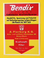 BENDIX Vintage style Fuel Pump Sticker Decal, early PORSCHE 911, 356, 912