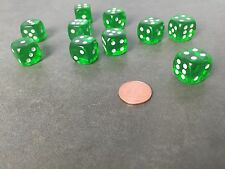 Set of 10 Six Sided D6 16mm Standard Rounded Translucent Dice Die - Green