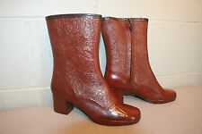 FITS 6 Sz7 NOS RUST Vtg 60s 70s NEW RAIN BOOT MID CALF CHUNKY HEEL SIDE ZIP SHOE