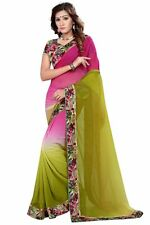 Pink & Green Party wear double shaded Georgette Saree with Designer Blouse....