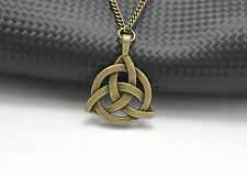 Fashion Celtic Triquetra Trinity Knot Pendant Bronze Plated Long Chain Necklace