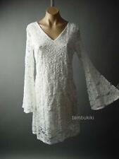 Antique Style Embroidered Lace Bell Sleeve Vtg-y Romantic Boho Day 63 fp Dress S