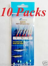 10 Packs Size #4 Sabiki Bait Rigs 6 RED Hooks Offshore Saltwater Lures - 49
