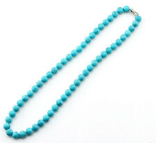 Natural Manual creation 8mm natural turquoise round bead necklace 18""