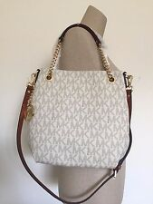 Michael Kors Jet Set Chain Item Vanilla Signature Medium Shoulder Tote Bag NWT