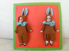 *antique pattern card with 2 dolls * Hertwig & Co. * 2 bisque Easter bunnies *